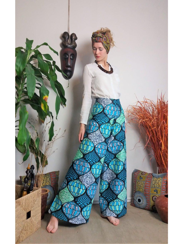 Zavinovací kalhoty tyrkys abstract