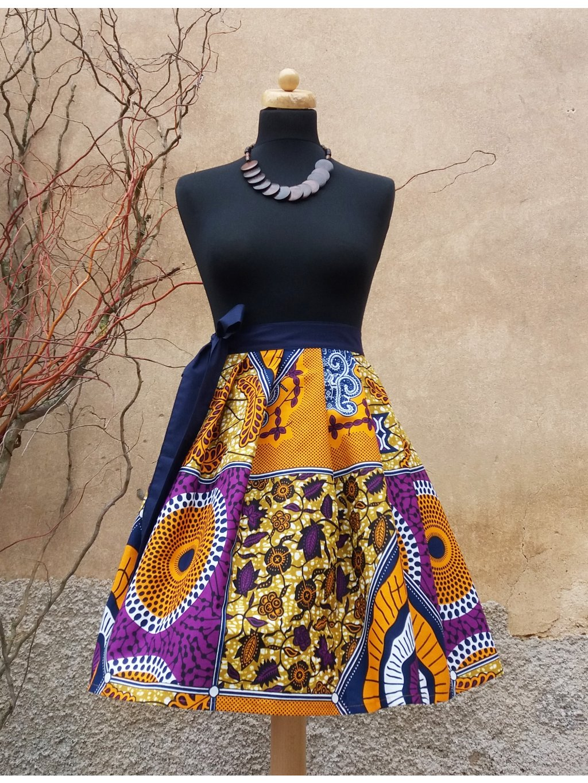 Afrika - směs vzorů s modrým páskem