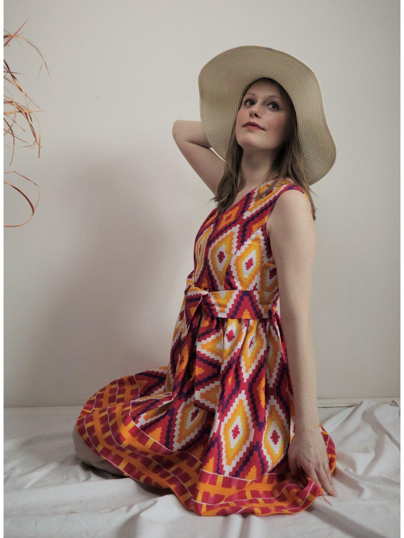 Šaty růžové kente