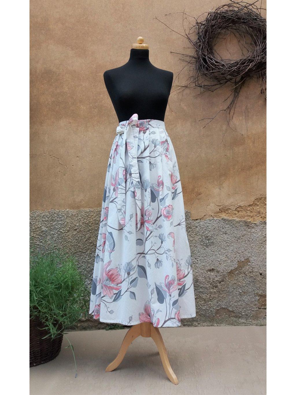 Dlouhá zavinovací sukně - magnolie
