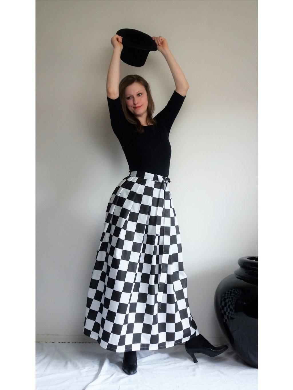 Dlouhá zavinovací sukně - šachovnice
