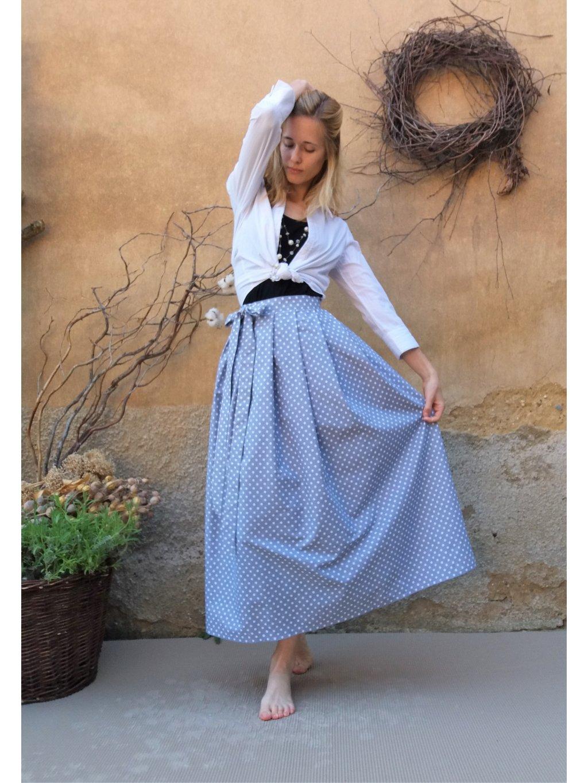 Dlouhá zavinovací sukně - šedá s bílým puntíkem