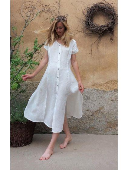 Lněné šaty - s rozparky