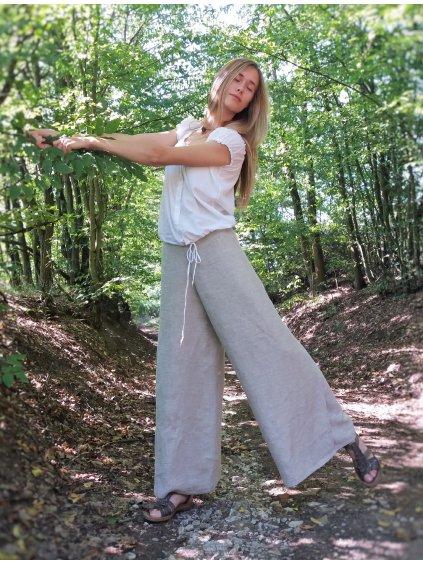 Zavinovací kalhoty lněné přírodní