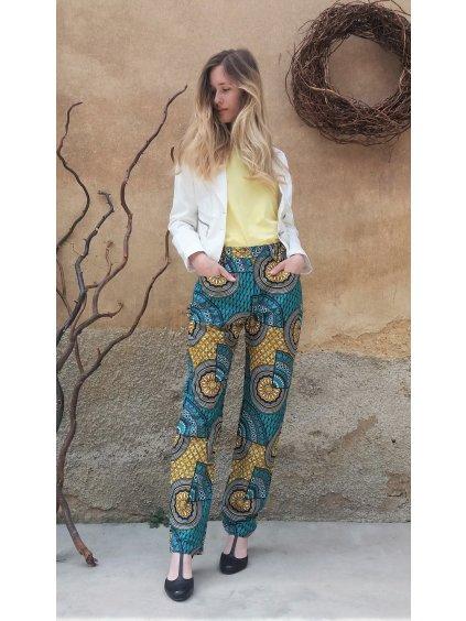 Africké kalhoty tyrkysové