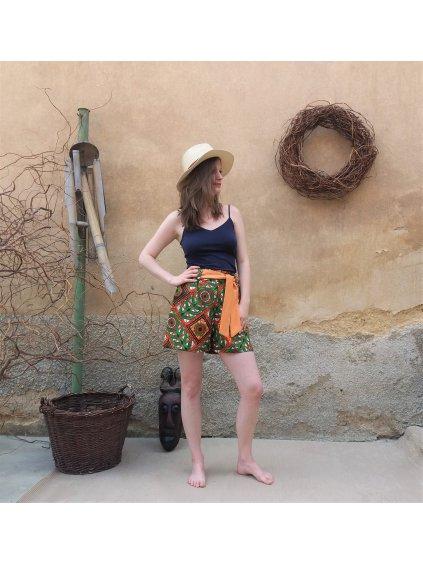 Africké kraťasy - zeleno-oranžové