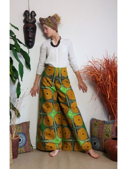 Zavinovací kalhoty žluté mandaly