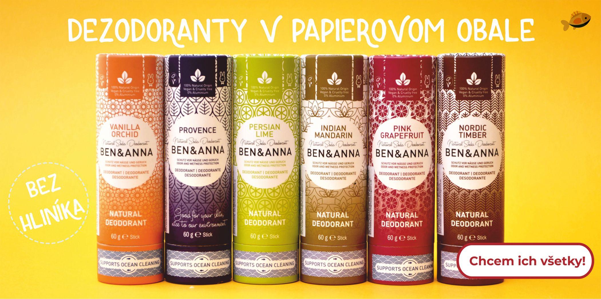 Prírodné deodoranty bez hliníka v papierovom obale