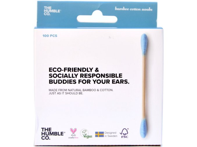 Bambusové tyčinky do uší MODRÉ - 100ks - The Humble Co.