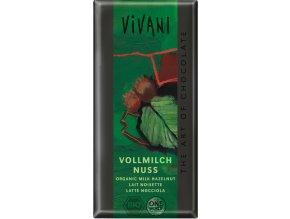 Čokoláda mliečna s kúskami orieškov BIO - 100g - Vivani