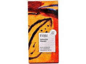 Mliečna čokoláda s mandľami BIO - 100g - Vivani