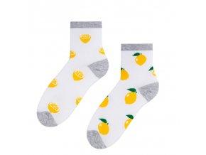 Drzé citróny ponožky biele