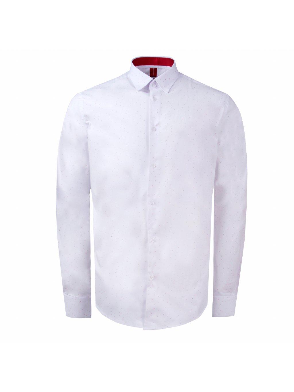 košile PHILIP Modern bílá červený motiv