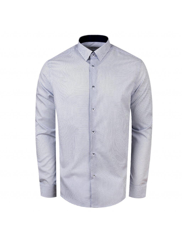 Pánská košile FERATT MILANO ll Modern bílá modrý vzor