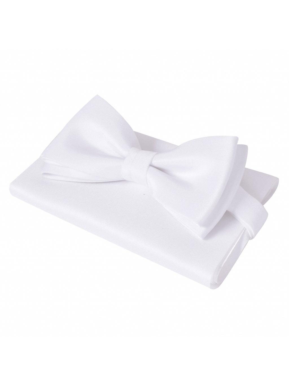 Motýlek s kapesníčkem čistě bílý
