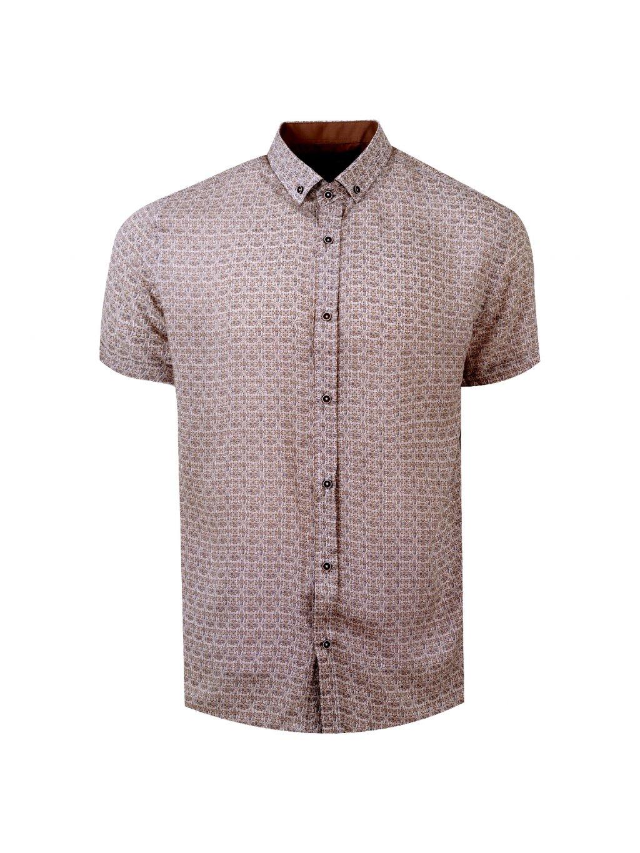 pánská košile FERATT BAMBOO Regular krátky rukáv hnědá