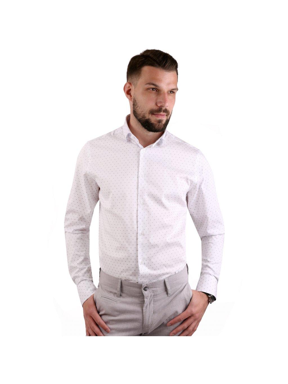 košile JOHNNIE Regular bílá - modro-červený vzor