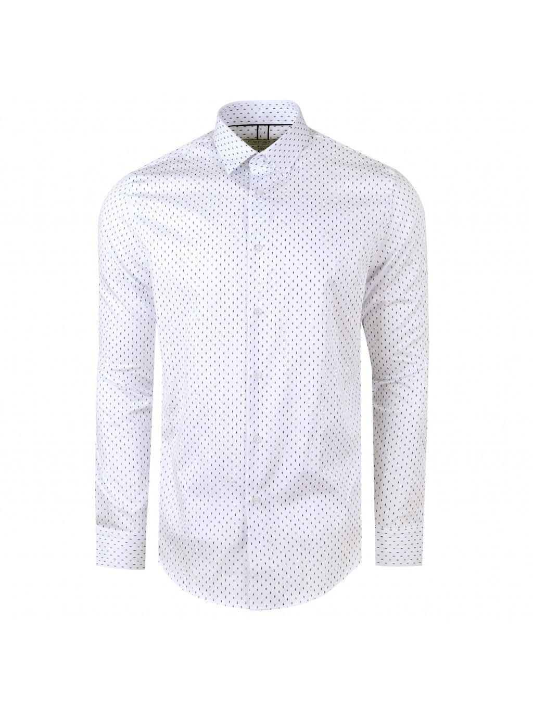 košile JOHNNIE Slim bílá se vzorem