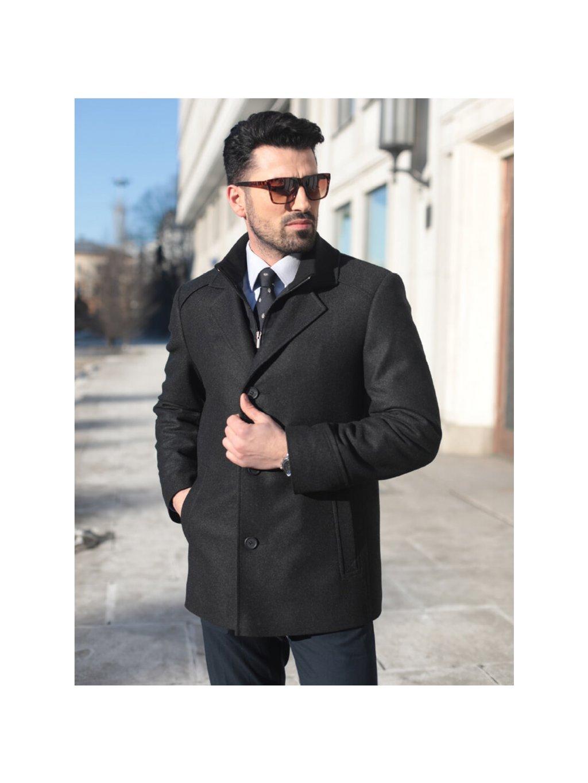 Pánský vlněný kabát s kašmírem BLAŽEJ