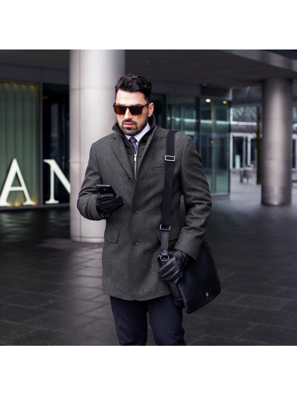 Pánský vlněný kabát s kašmírem TYMON - šedý