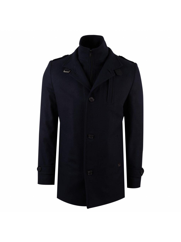 Pánský vlněný kabát CHARLES - tmavě modrý