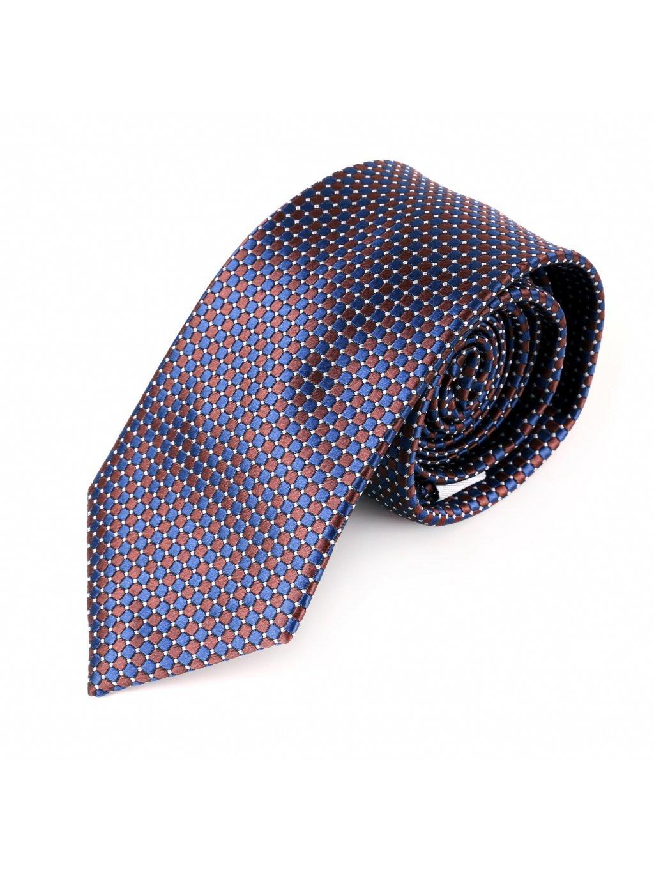 Kravata modro-hnědá F81