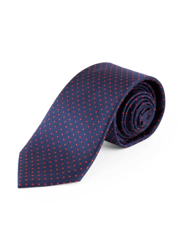 Hedvábná kravata tmavě modrá s puntíky