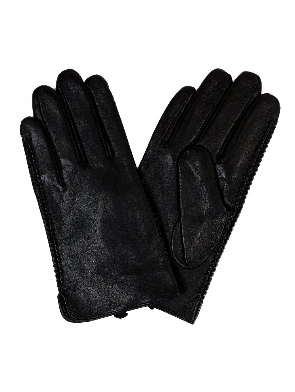 Kožené rukavice s podšívkou - černé