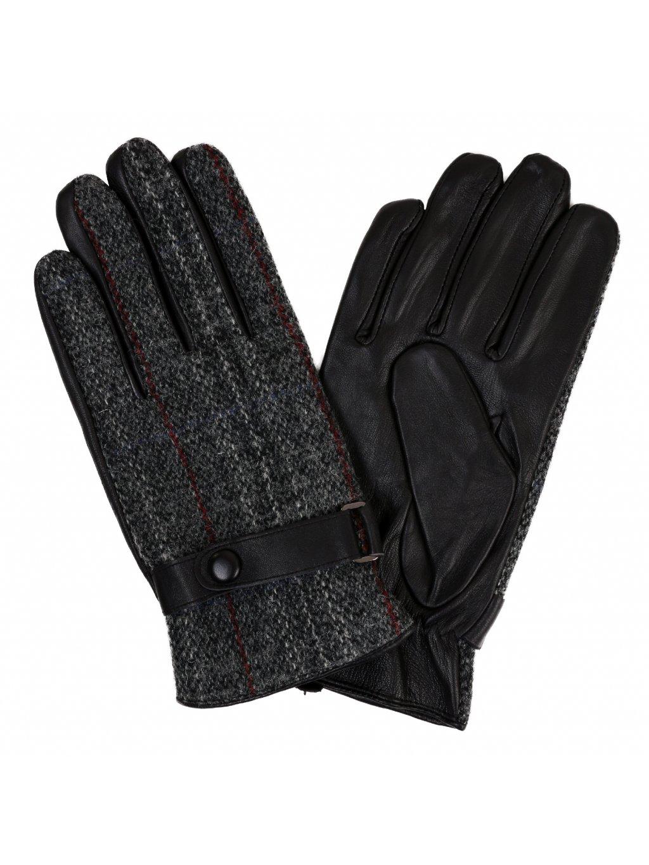 Pánské kombinované rukavice s podšívkou -černé