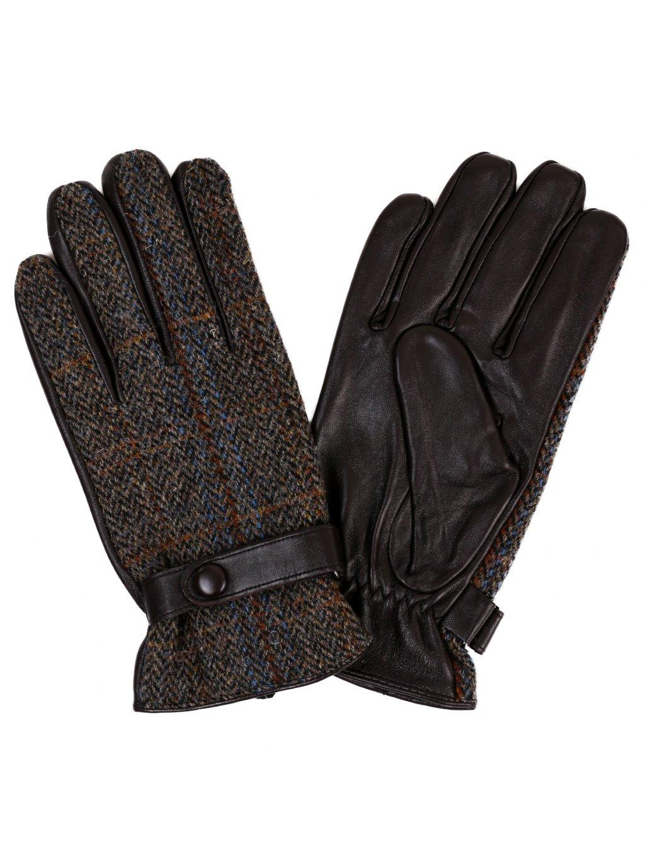 Pánské kombinované rukavice s podšívkou - hnědé