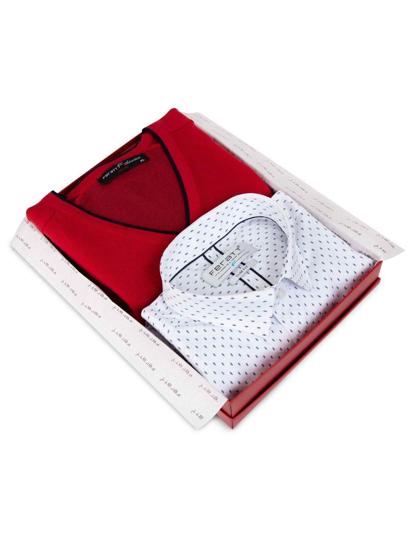 Set košile JOHNNIE + svetr DARREN červený
