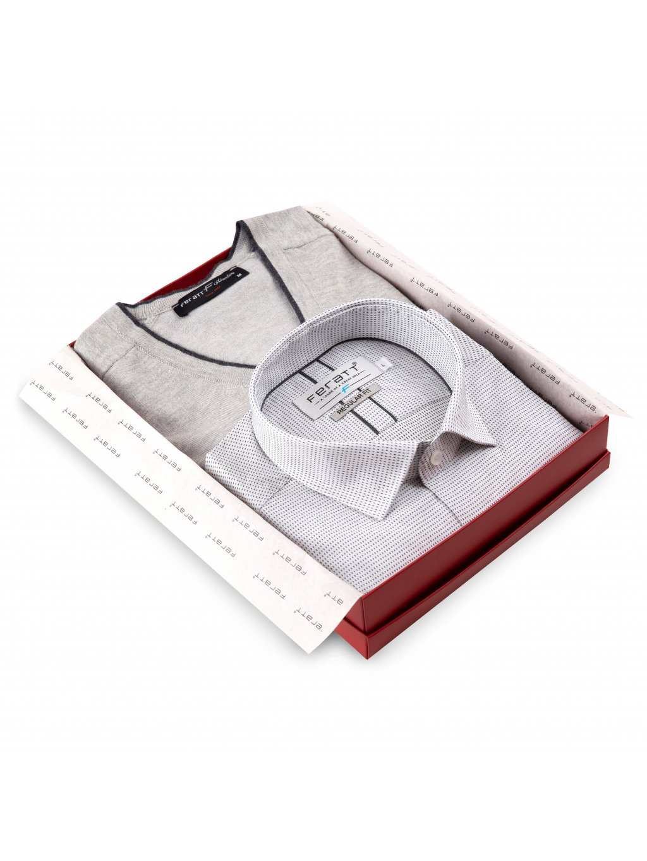 Set košile PERFECT + svetr DARREN šedý