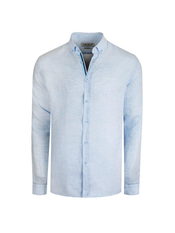 Pánská lněná košile CARIBBEAN II Regular světle modrá