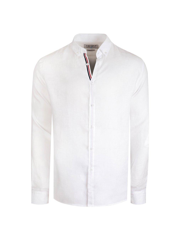 Pánská lněná košile CARIBBEAN II Regular bílá