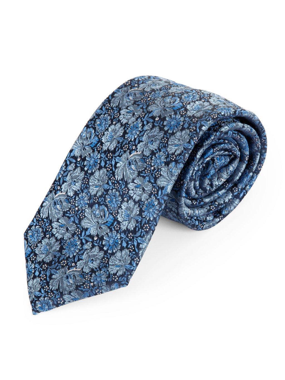 Kravata modrá květovaná A132
