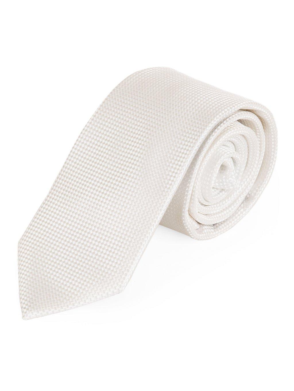 Kravata bílá vzorovaná A145