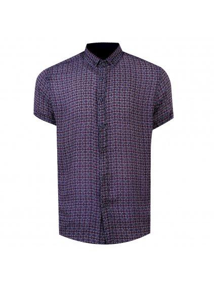 pánská košile FERATT BAMBOO krátky rukáv - modro-červený vzor