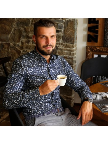 Pánská košile FERATT IMBALI Modern šedomodrá