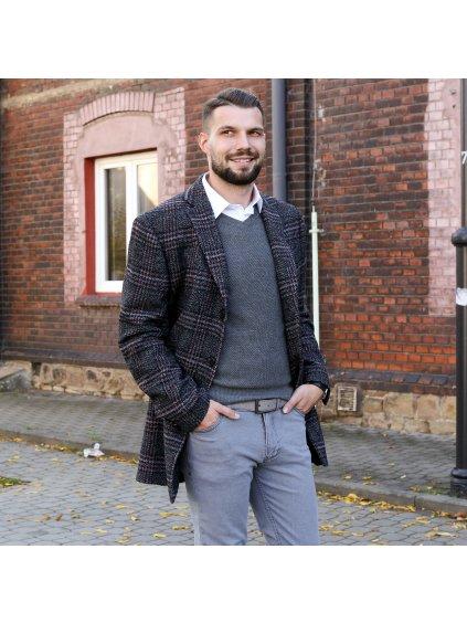 Pánský zimní kabát PIEMONT - šedočerný