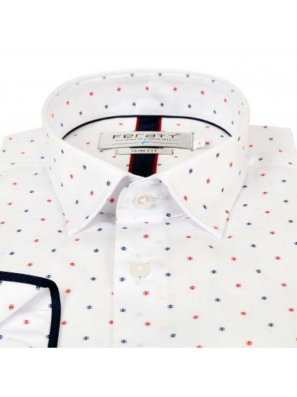 košile JOHNNIE Slim bílá s barevným vzorem
