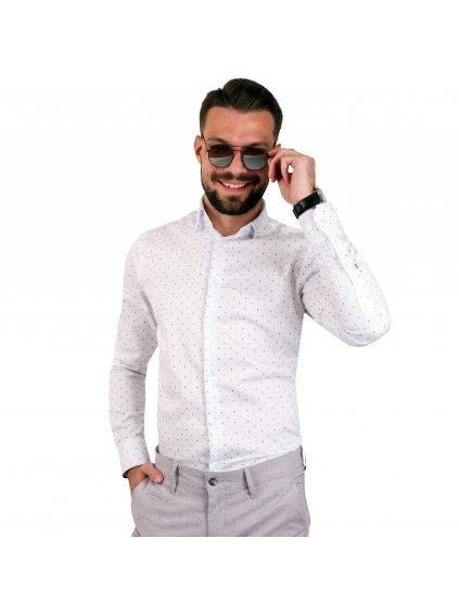 košile JOHNNIE Slim bílá s modrým vzorem