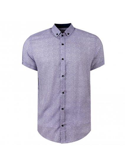 košile BAMBOO Slim fit krátký rukáv - modrá