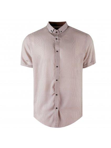 košile BAMBOO MILANO regular krátký rukáv hnědá