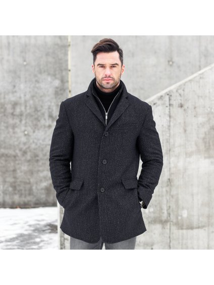 Pánský vlněný kabát s kašmírem TYMON - granát