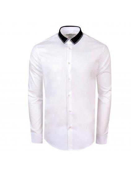 Košile ZOA Modern bílá s černým límečkem