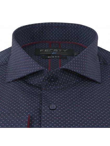 Pánská košile LEON Slim - červenomodrý vzor