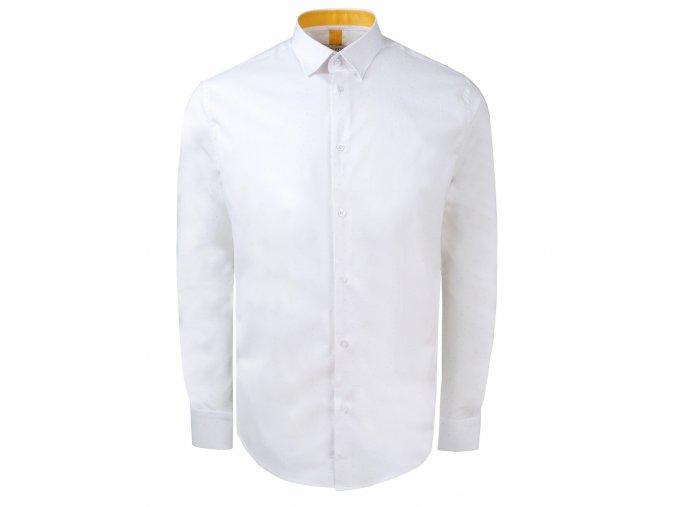 košile PHILIP Modern bílá - žlutý motiv