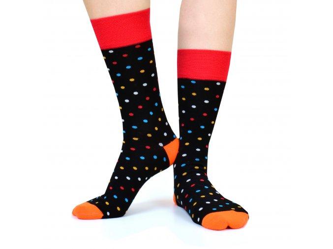 Ponožky DOTS černooranžové