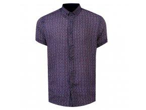 košile BAMBOO krátky r. modro-červený vzor