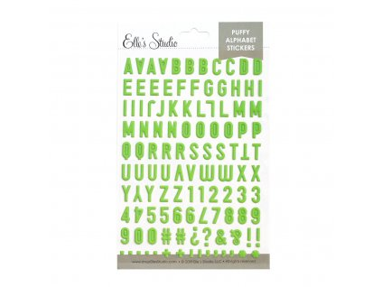 EllesStudio June2019 Lime Green Puffy Alphabet Stickers 01